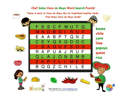 Holiday 6 Cinco de Mayo Easy Mexican Foods Word Search for ...