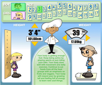 bmi calculator for kids with healthy messages